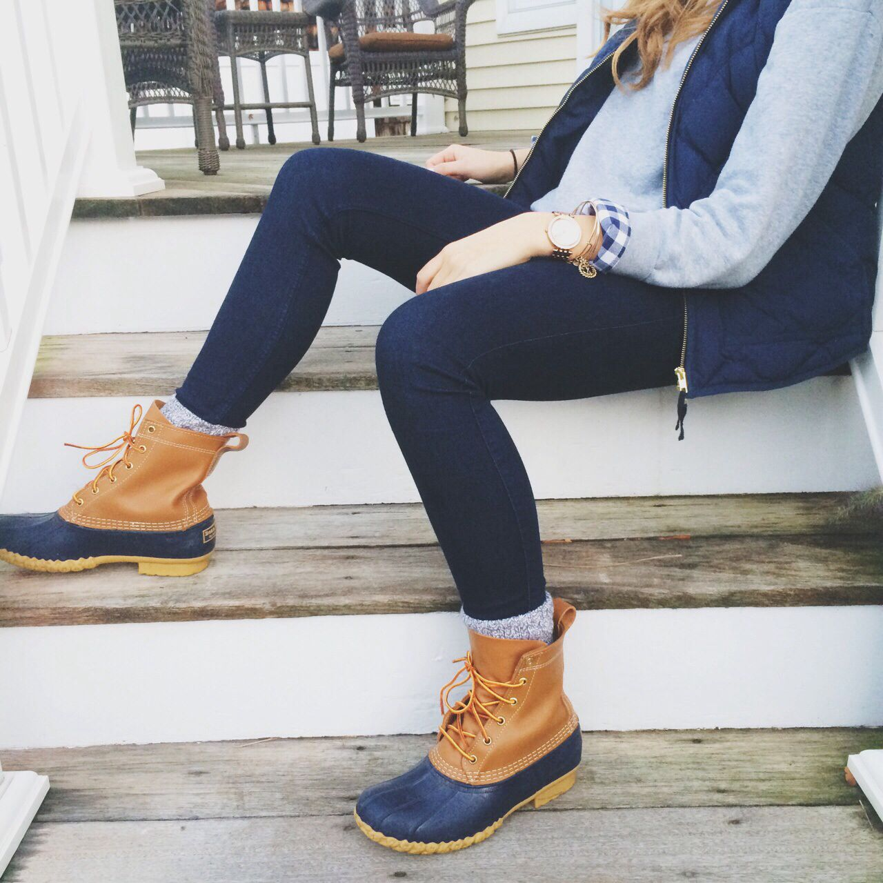 Bean Boots Camp Socks Jeans Navy Gingham Grey Sweater