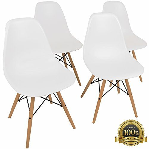 UrbanMod Eames Style Modern Dining Armless Side Chairs Set Of 4 Molded  White ABS Plastic With