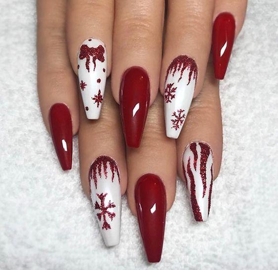 36 Beautiful And Stylish Christmas Stiletto Nail Art Designs Christmas Nail Art Design Christmas Nail Art Design Stiletto Simple Christmas Nail Art