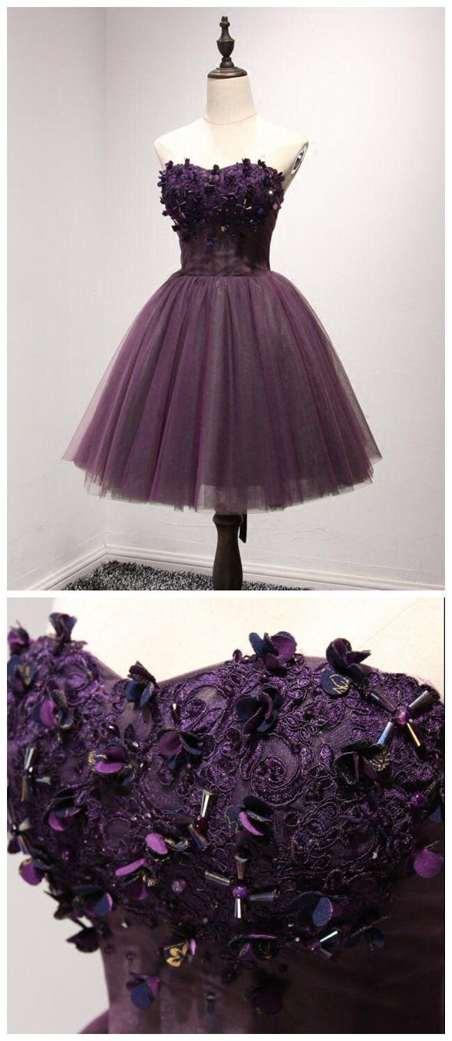 Deep purple sweetheart homecoming dresses beaded top homecoming