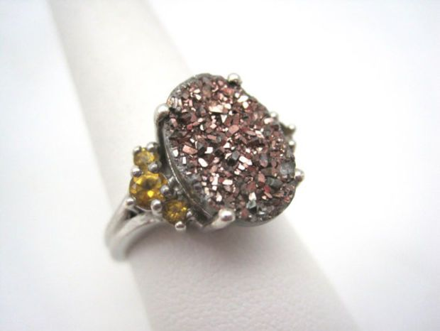 Vintage Rose Gold Druzy Ring - Sterling Silver and Citrine