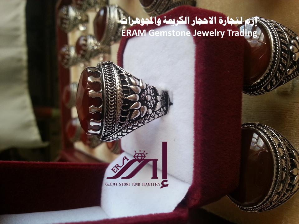 خواتم رجالي كلاسيك 4 عقيق يمني احمر كبدي دم الغزال مركن درجة اولى Agate Class Ring Gemstone Jewelry Gemstones