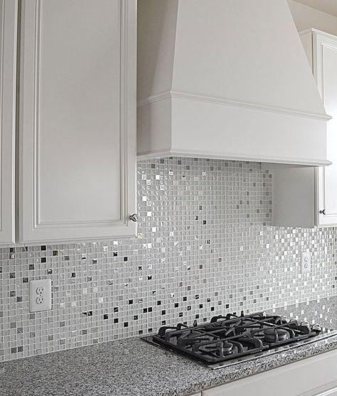 MODERN White Glass Metal Kitchen Backsplash Tile   Backsplash.com #kitchenbacksplash