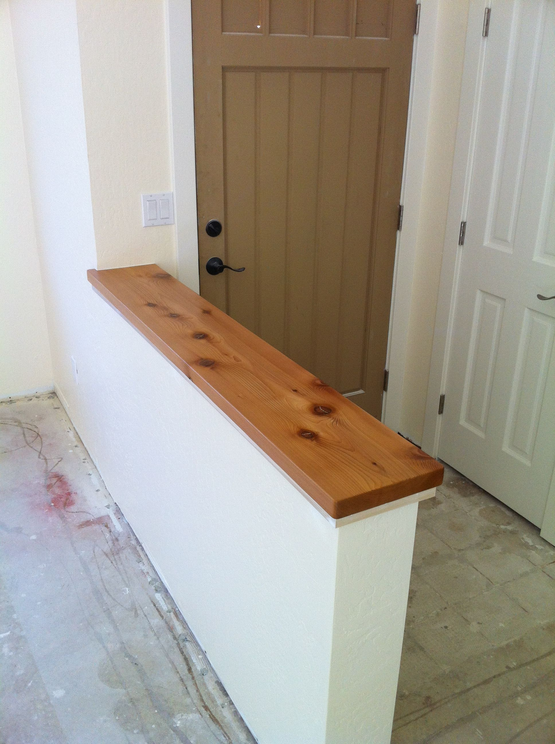 Pony Wall With Alaskan Cedar Cap Separates Entry From Living Room In Small Santa Cruz House Cedar Finished With Lacquer Pony Wall Half Walls Half Wall Decor