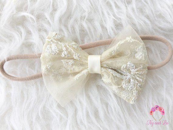 d9bd5b5d1802 Baby Girls Cream Lace Bow Headband