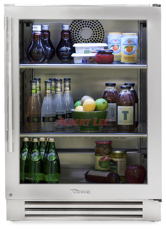 24 Inch Stainless Glass Door Undercounter Refrigerator Right