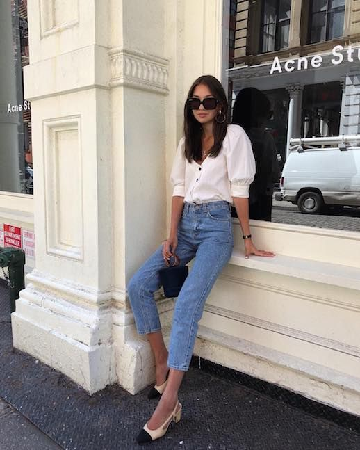 Le Fashion Blog Simple Chic Sunglasses White Blouse Vintage Jeans Cap Toe Slingback Heels Via @fakerstrom #lefashion