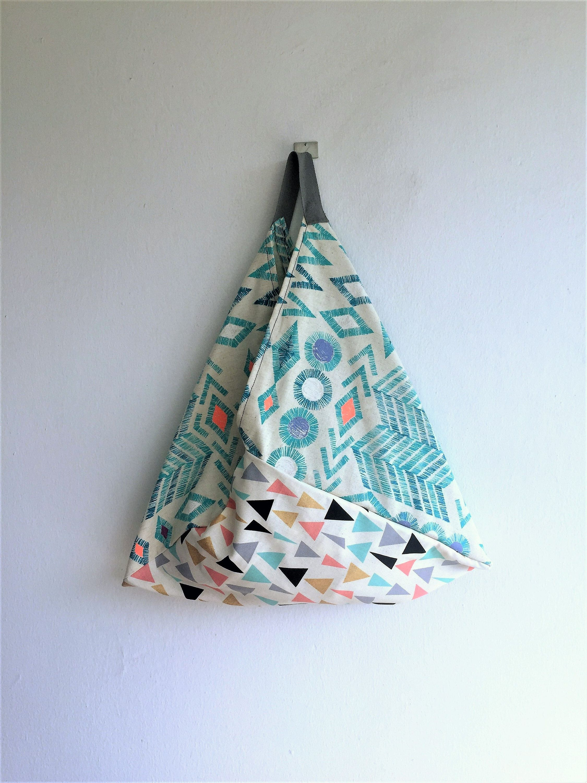 Cotton Bento Bag Triangle Tote Bag Natural Bag Market Tote Japanese Market Bag Cotton Origami Bag Reusable Grocery Bag