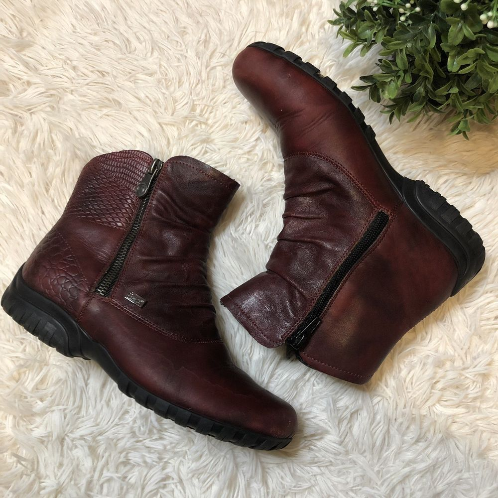 shoe accessories Rieker Leather Lace Up Heeled Ankle Shoes
