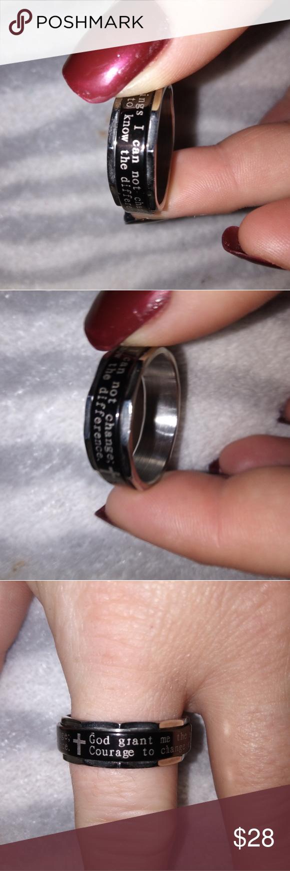Stainless Spinner Ring W Serenity Prayer On It Serenity Prayer Spinner Rings Stainless Steel Band