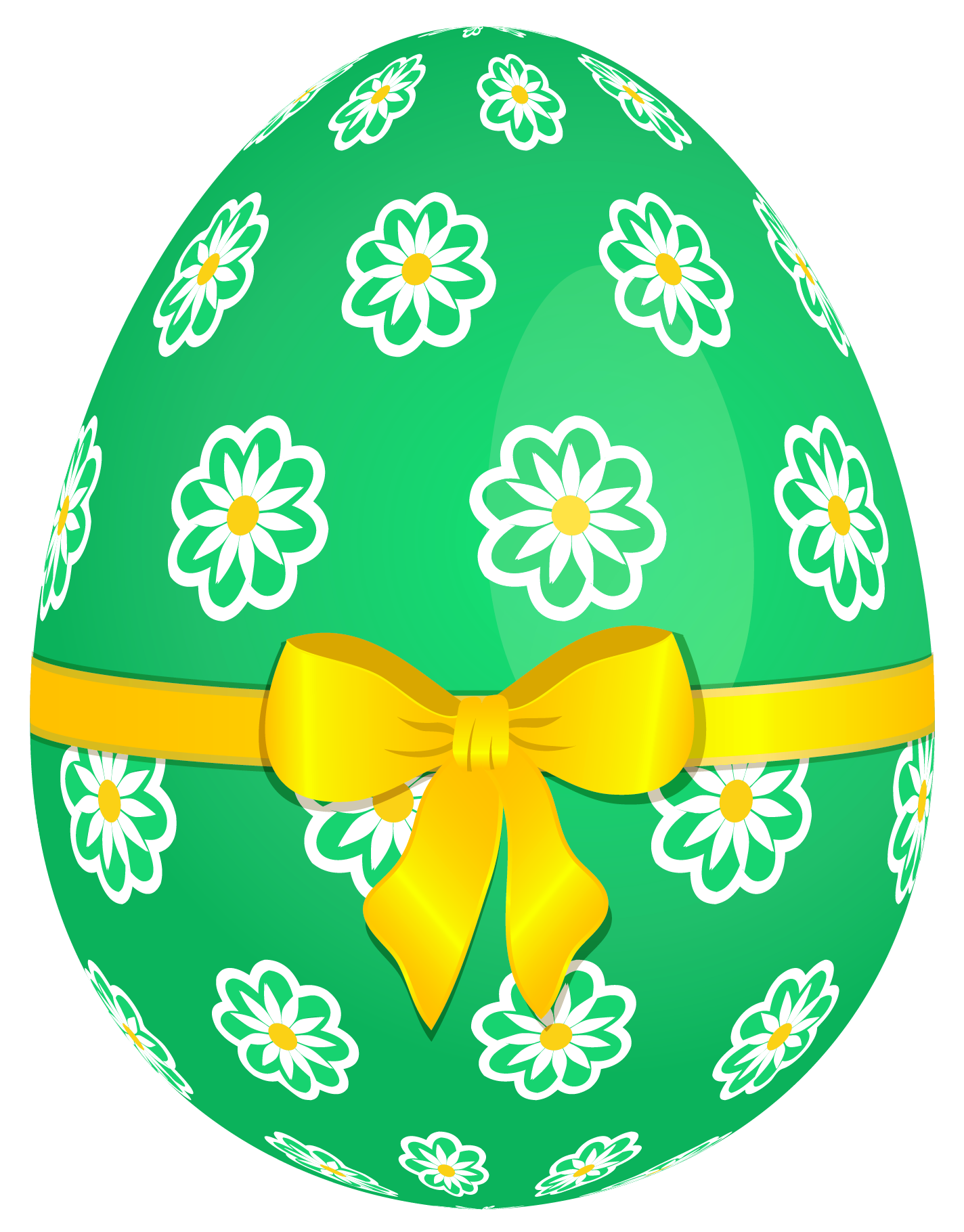 Green Easter Egg With Flowers And Yellow Bow Png Picture Easter Egg Pictures Easter Pictures Easter Eggs