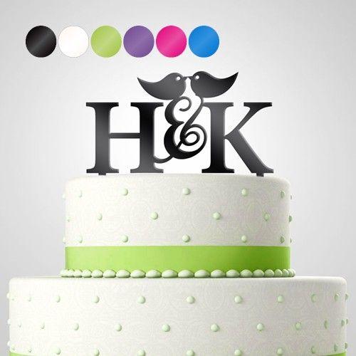Cake Topper Tortendekoration Acryl 'Love Birds' personalisiert mit Monogrammen