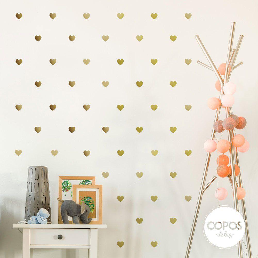 Vinilos decorativos con forma de corazones dorado metalizado vinilos decorativos infantiles for Stickers para dormitorios