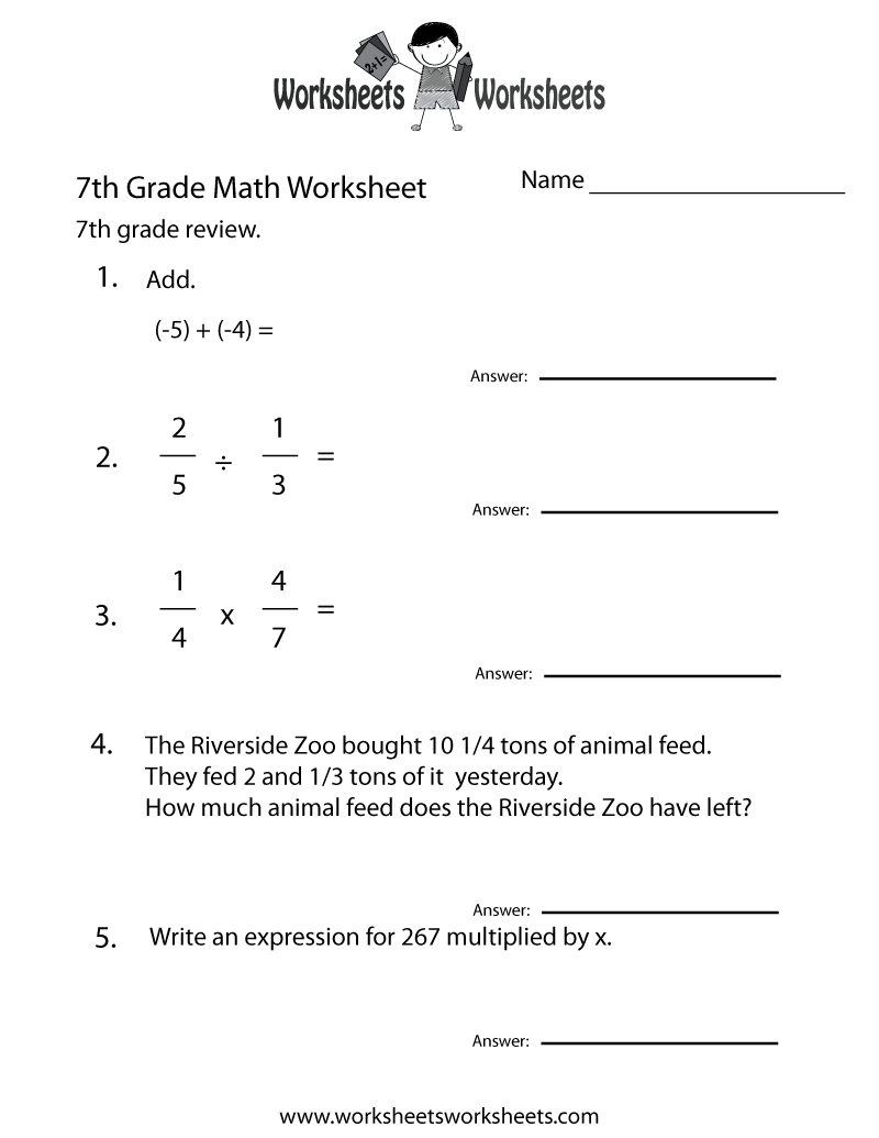 Seventh Grade Math Practice Worksheet - Free Printable Educational Worksheet    7th grade math worksheets [ 1035 x 800 Pixel ]