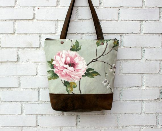 Tote bag handbag waxed cotton canvas and faux by CheriDemeter, $49.00