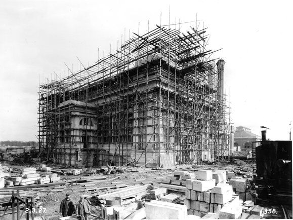 Antiguo Edificio de Seguridad Pública en construcción, en 1909, Seattle en Washington.