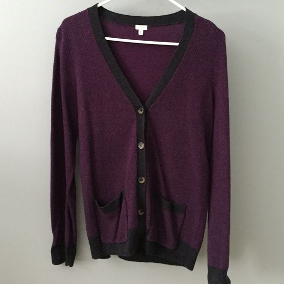 J.crew cardigan Purple and black (slightly heathered) herringbone cardigan with brown and black buttons. Size medium but slightly oversized. Very good used condition, only worn a handful of times. J. Crew Sweaters Cardigans