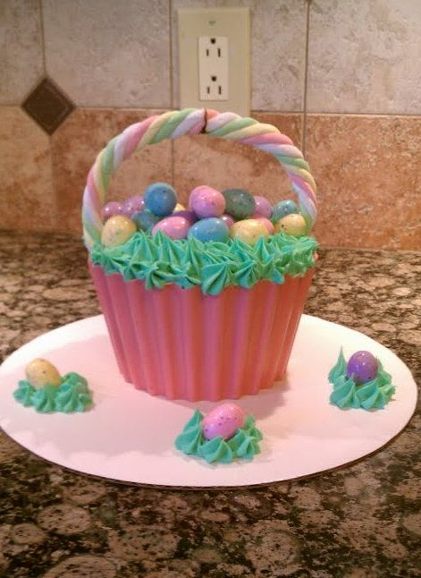 Easter Basket Cake Made With Wilton Big Cupcake Pan Big Cupcake Large Cupcake Cakes Easter Basket Cake