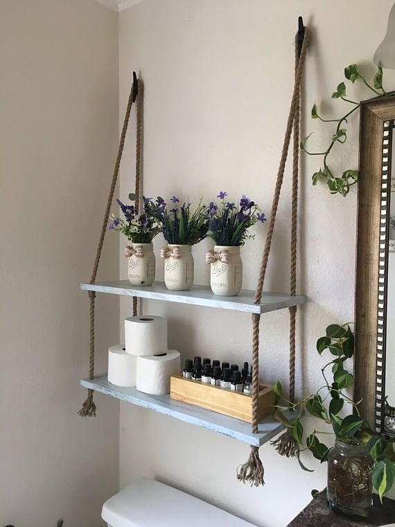 Wood and Rope Hanging Shelves - Bathroom shelves- Small Bathroom ...