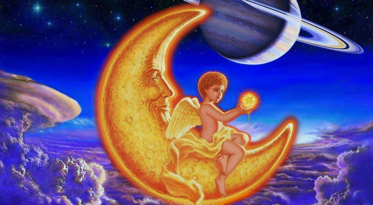 Ange Sur Le Croissant De Lune Image Ange Ange Angelique