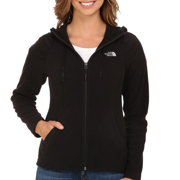 North Face Womens Mezzaluna Hoodie Zip Up Black Fleece but light enough weight for spring. Form-fitting, this is not loose or baggy. Zips up with a hood. Ruched pockets accent your waist. Size S. It's already priced at at a really good deal! North Face Tops Sweatshirts & Hoodies