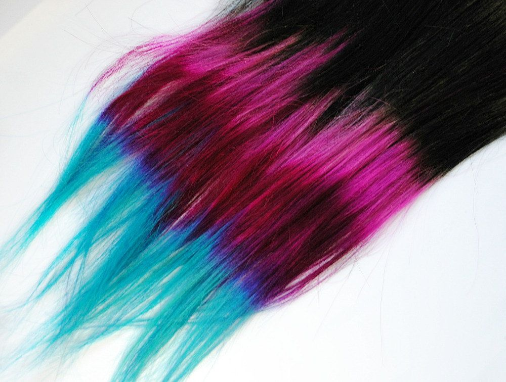 Shocker neon pop human hair extensions dip dyed tips tie shocker neon pop human hair extensions dip dyed tips tie dyed clip ins black pink fuchsia turquoise ombre rainbow pmusecretfo Images