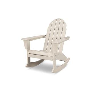 Polywood Vineyard Outdoor Adirondack Rocking Chair Teak Brown