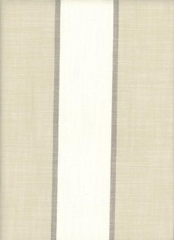 Newport Pebble - tan and ivory/white striped drapery fabric.