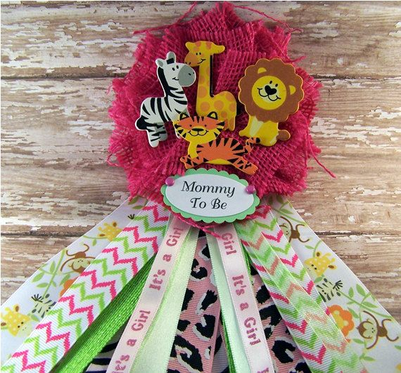 Safari Baby Shower Corsage: Pink Safari Animals Mommy To Be Corsage Baby Shower