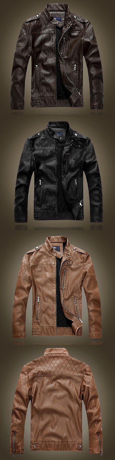 Men Coats And Jackets: Mens Genuine Lambskin Leather Jacket Black Slim Fit Biker Motorcycle Jacket BUY IT NOW ONLY: $36.5