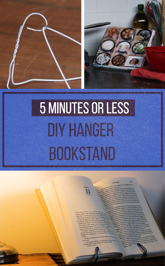 Turn a hanger into a bookstand and never lose your page—perfect for nightstands and kitchen cookbooks alike.