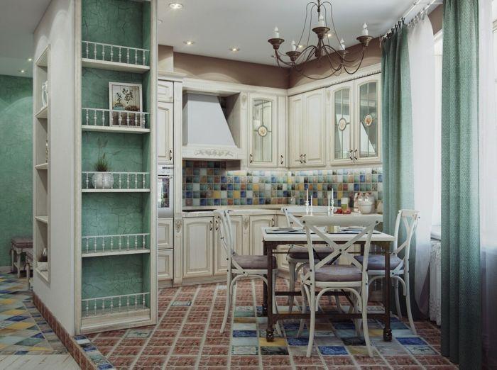 cocinas vintage, pequeña cocina en colores pastel, armario y