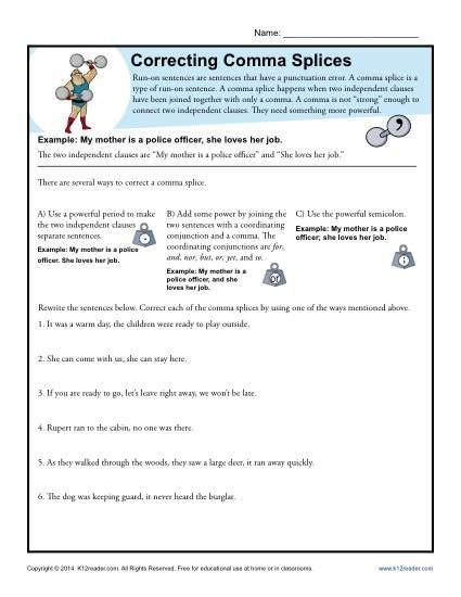 Correcting Comma Splices With Images Punctuation Worksheets