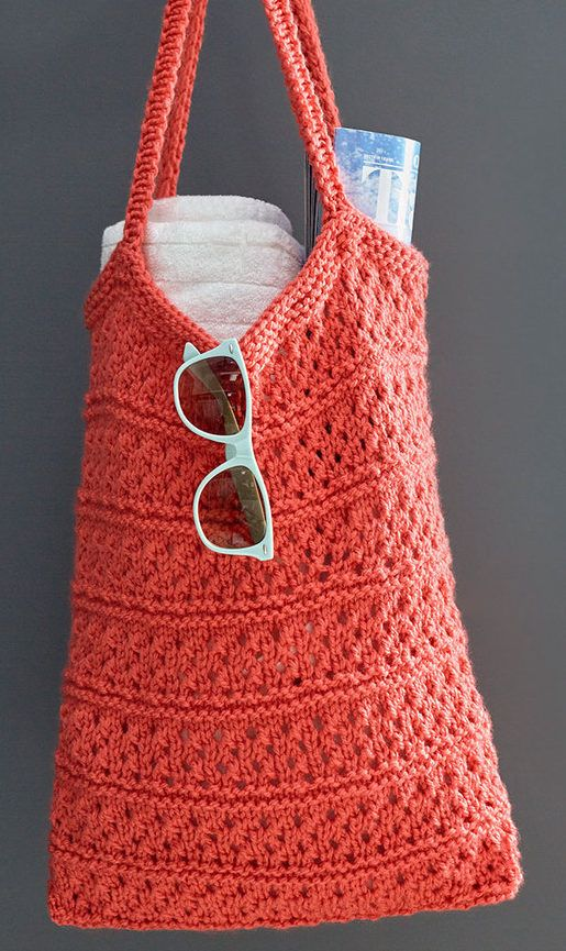 Free Easy Knitting Pattern for Breezy Knit Market Bag - Roomy tote ...