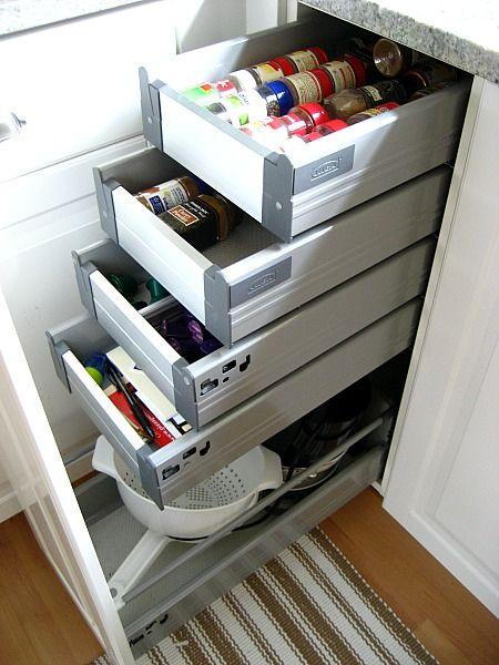 Ikea Kitchen Cabinet Hacks   Additional Pullout Shelves For Ikea Cabinets  And Stacked Them Closely Together For More Efficient Storage.