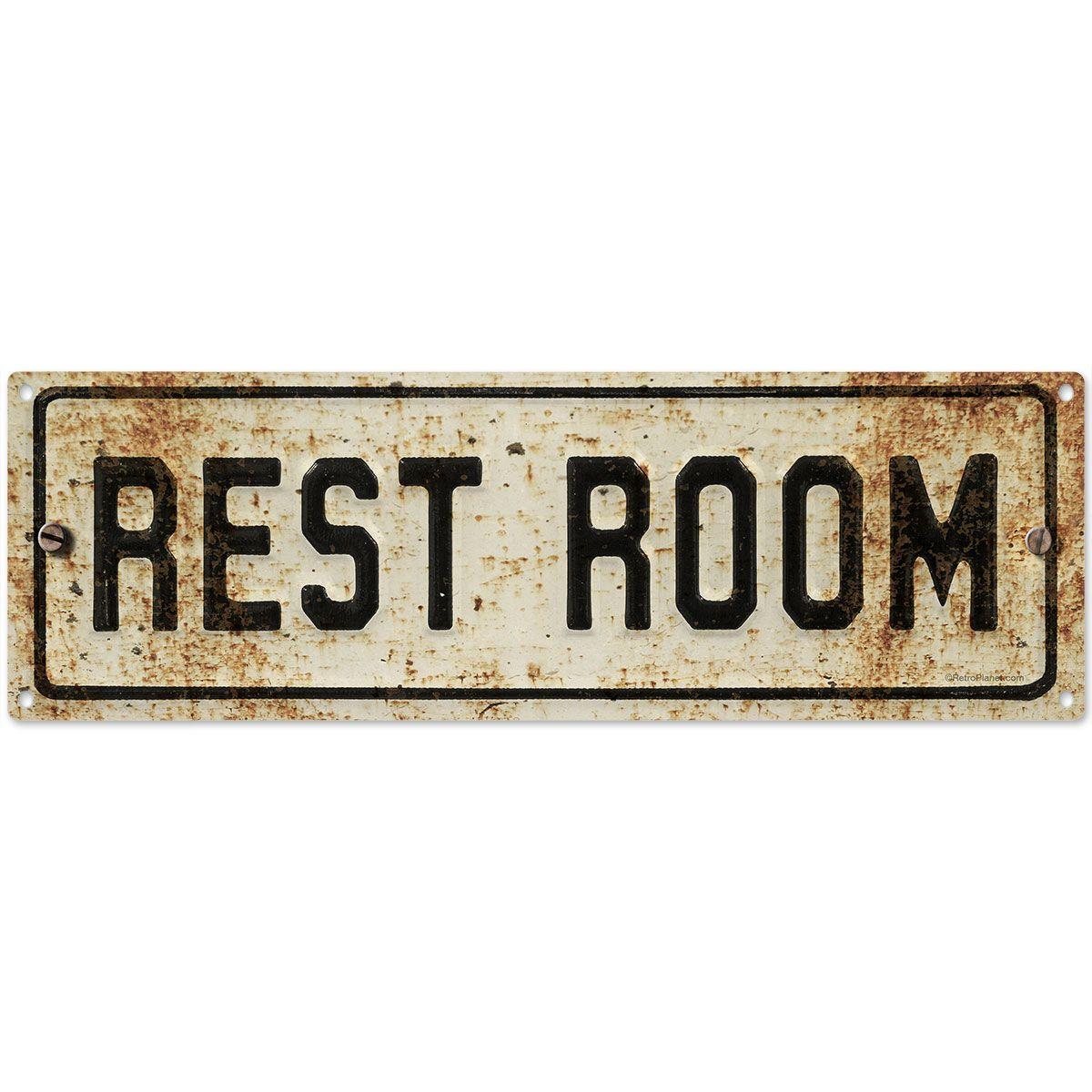 Restroom Embossed Look Rusted Bathroom Sign Vintage Metal Signs Restroom Bathroom Styling