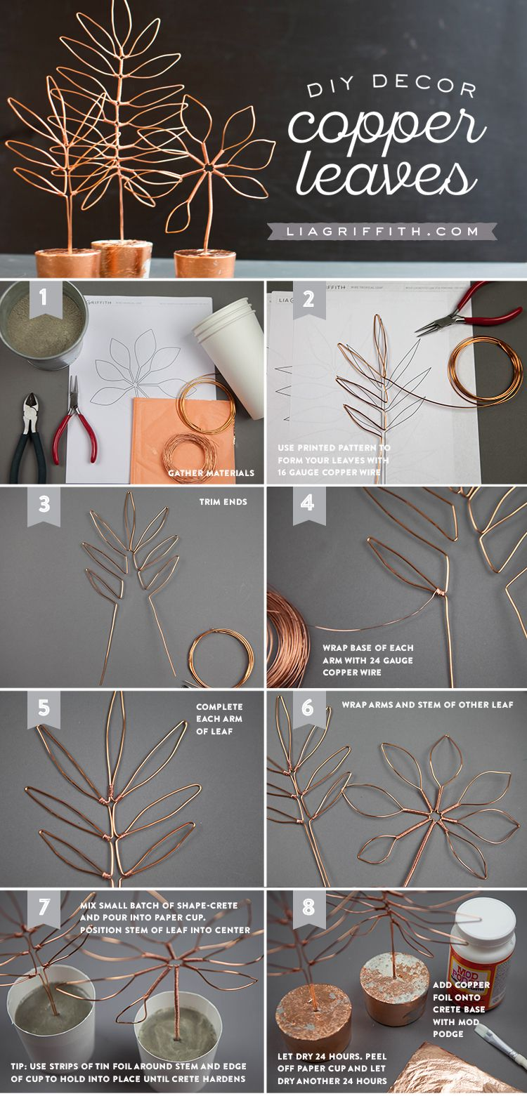 Copper Wire Leaf Decor | holly trail 2017 | Fil de fer, Bricolage ...