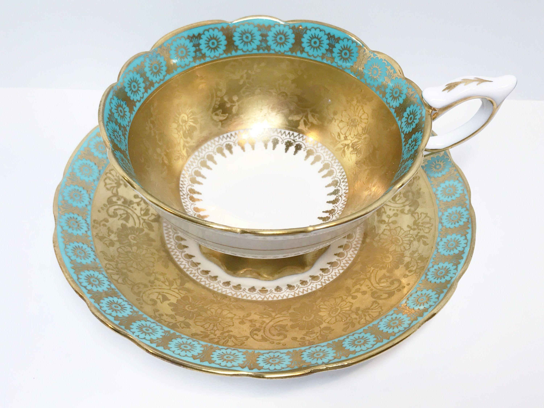 Gorgeous Royal Stafford Tea Cup and Saucer, Aqua Gold Tea Cups, Antique Tea Cups Vintage, English Bone China Cups #teacups
