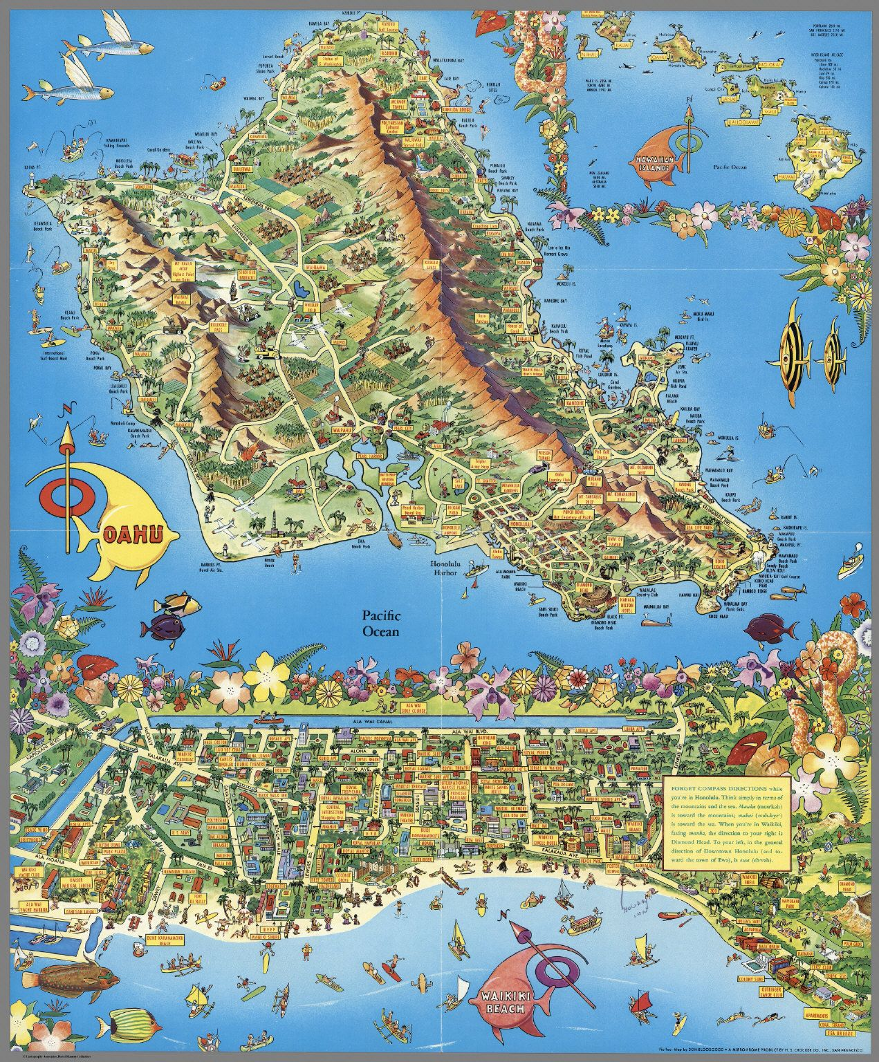 a pictour map honolulu waikiki and 'round the isle of oahu. a pictour map honolulu waikiki and 'round the isle of oahu