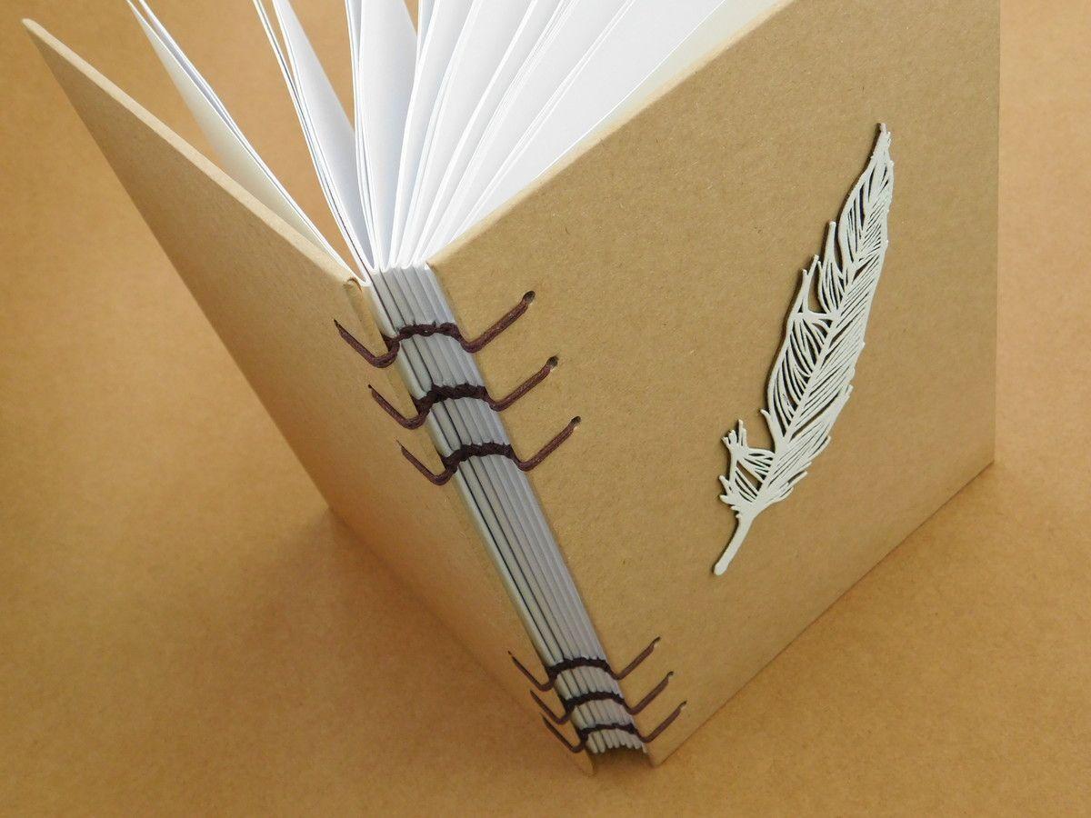Lindo Caderno Artesanal Todo Forrado Em Papel Kraft Com Aplique De