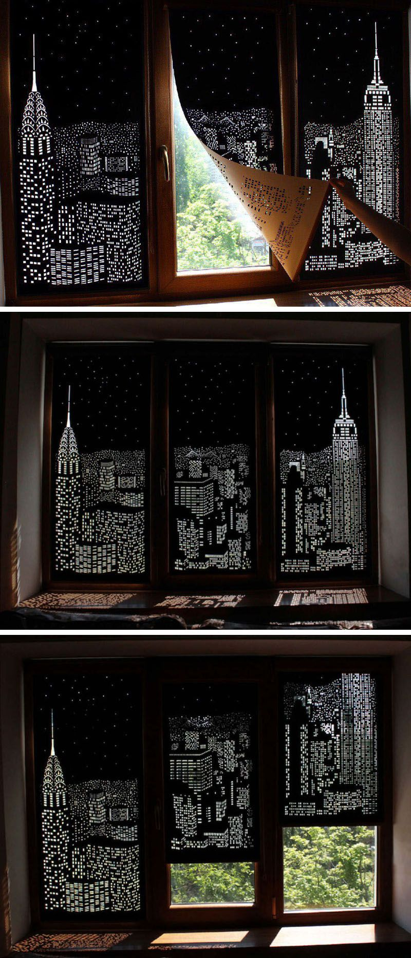 These blackout blinds provide a city view when closed city