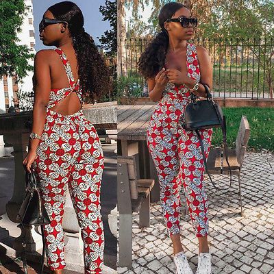 Fashion Women V Neck Sleeveless Print Cross Back Bodycon Jumpsuit Romper Casual