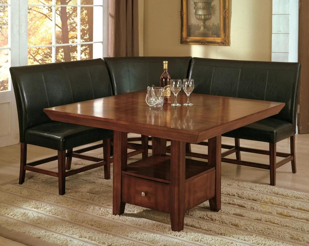 Salem 4 Piece Breakfast Nook Dining Room Set Table Corner Bench Seating Dinette