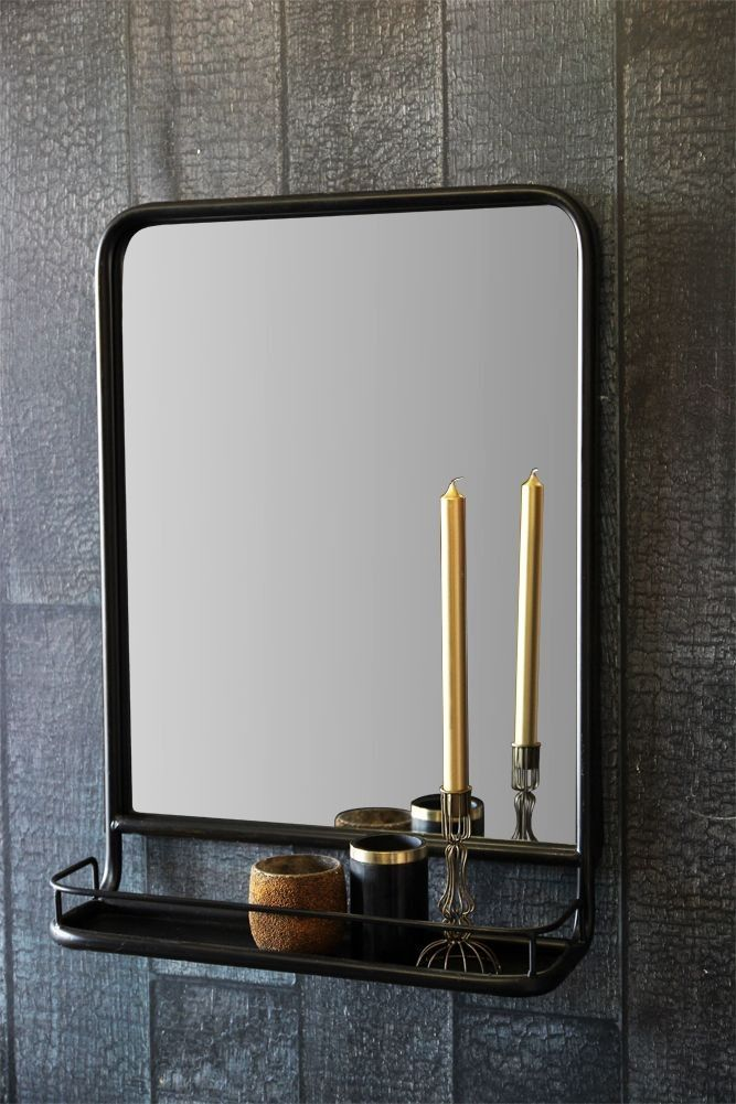 Antique Brown Mirror With Shallow Shelf  Portrait  ROOM