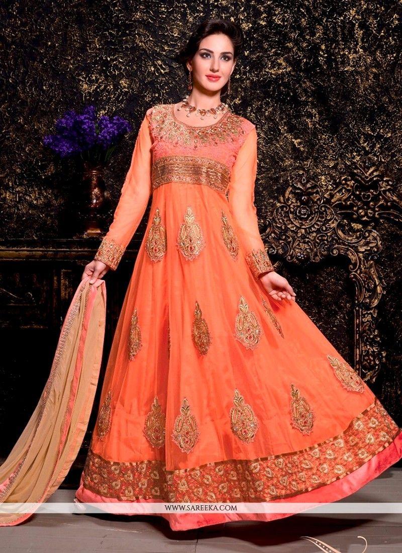 Designer salwar kameez mesmeric peach color net designer suit - Awesome Peach Net Designer Anarkali Suit