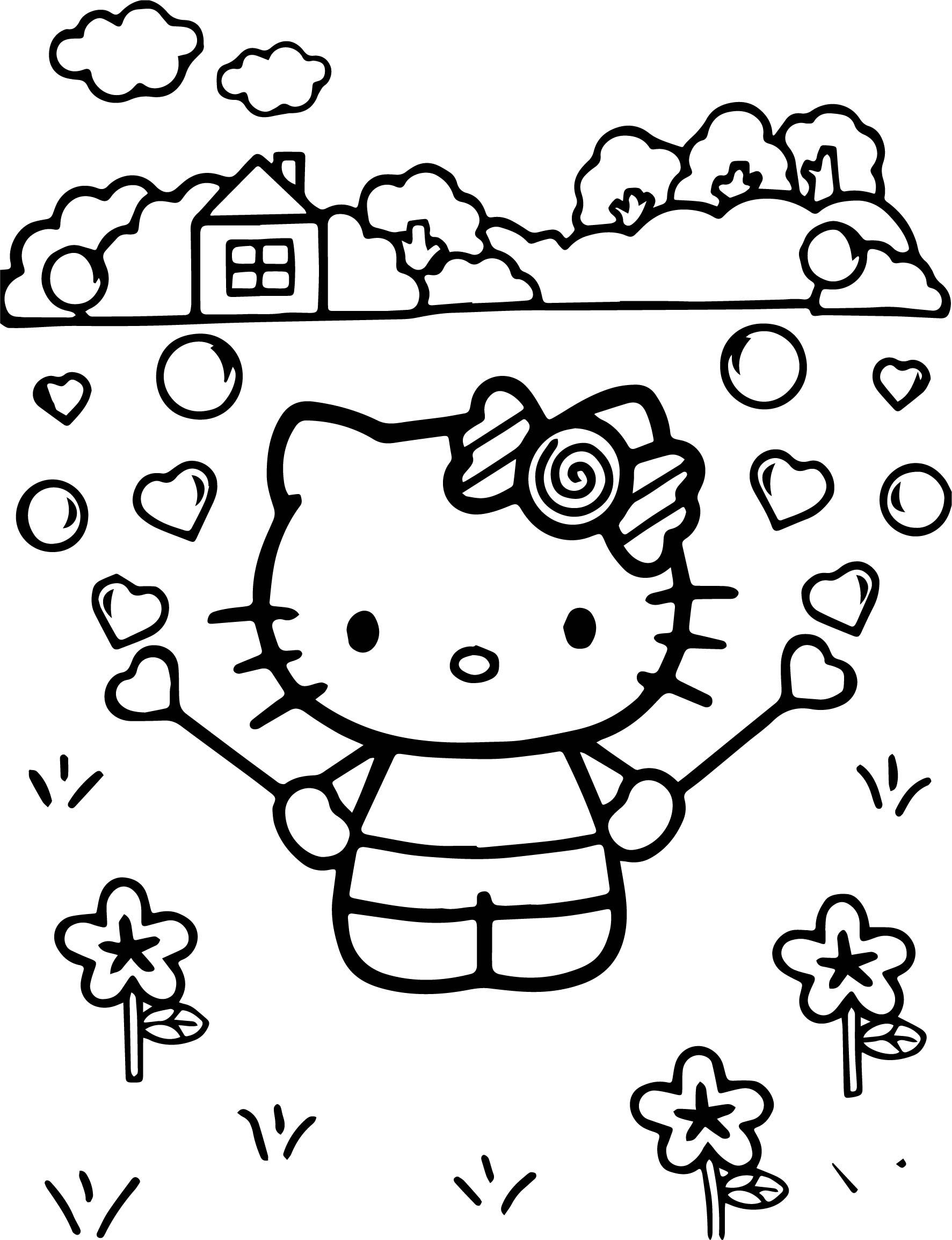 Cool Hello Kitty Playing At Street Coloring Page Kleurplaten
