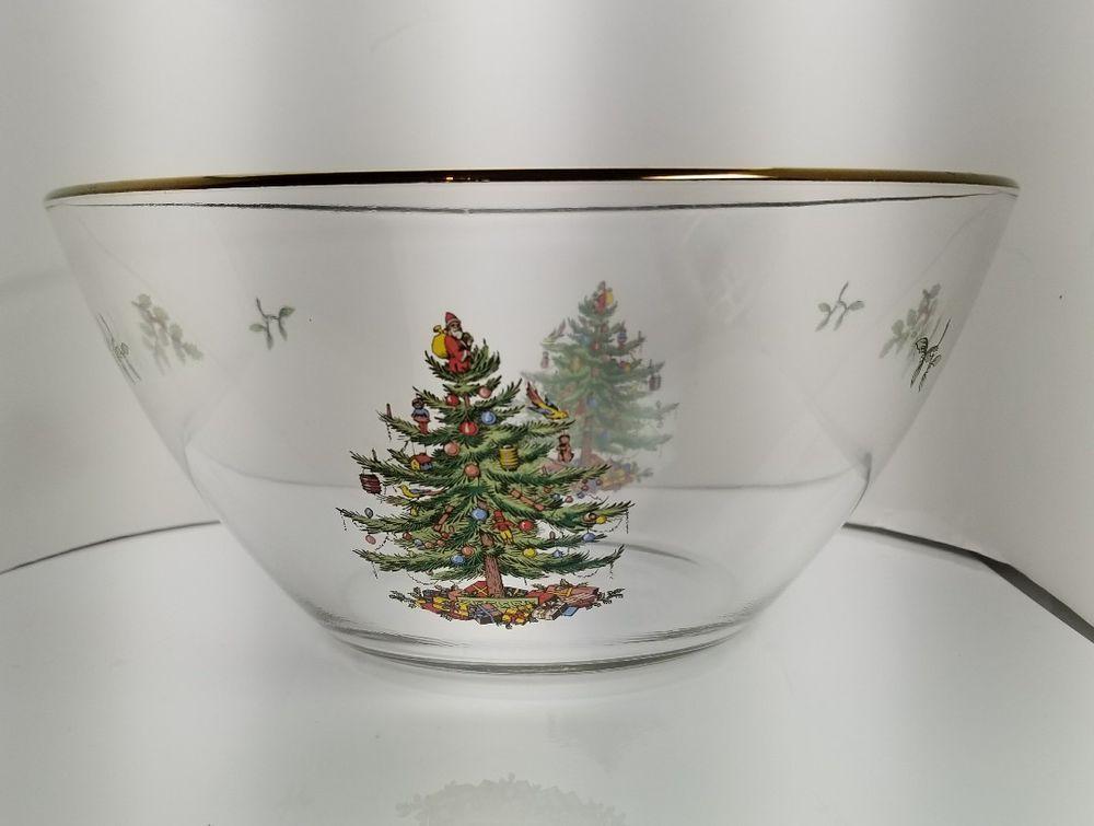 Spode Christmas Tree Glass Salad Bowl 9 Usa Seller Spode Spode Christmas Spode Christmas Tree Spode