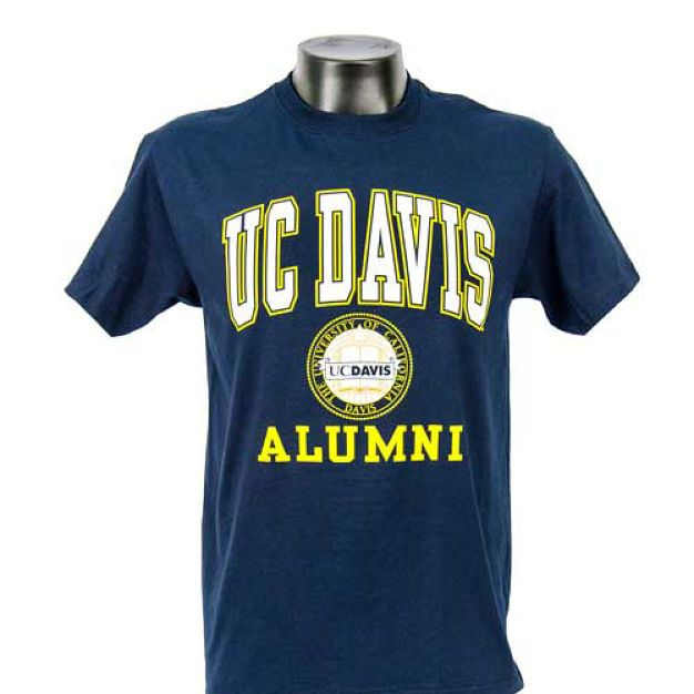 Uc Davis Men S Alumni Tee With Seal New Style Alumni Tee Made By Jansport In Classic Navy Blue With Bold White And Gold Mens Navy Tee Men Unisex Mens Tshirts