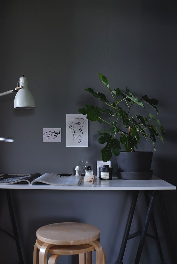 Dark grey office walls.