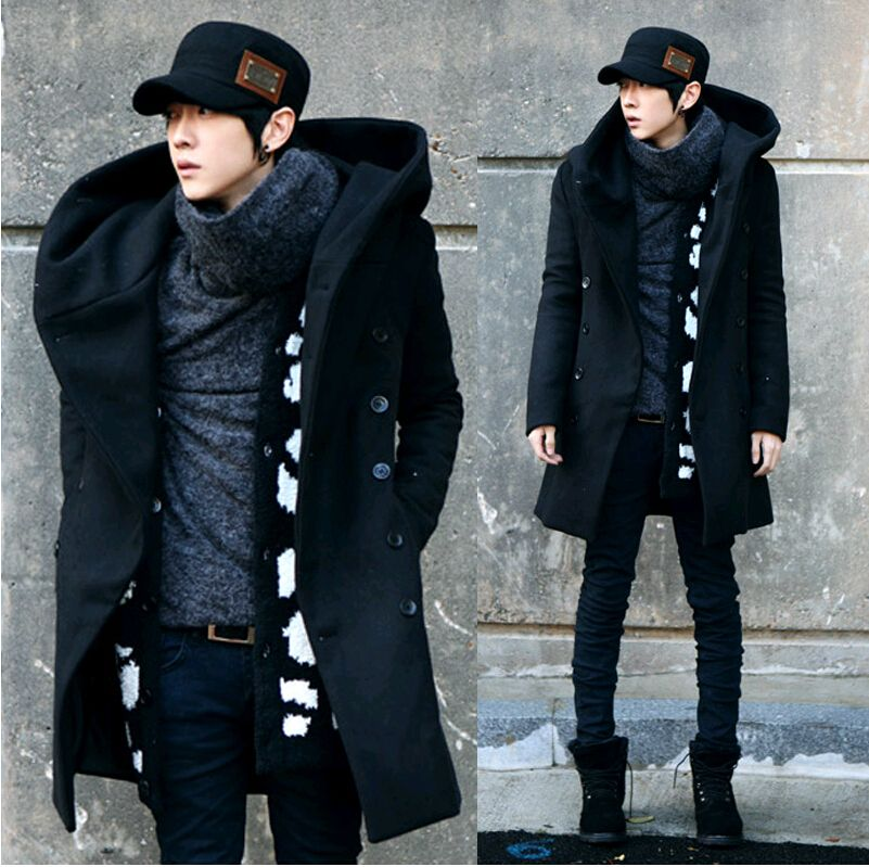 2014 Fashion Cheap Mens Pea Coat With Hood Double Breasted Long ...